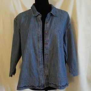 J.Jill Button Down Chambray Blouse XL/Petite